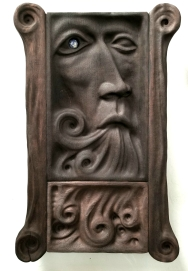 """Sings the Spring Waters - 21""""x12.5""""x2.5"""" - reclaimed mahogany + sodalite - $1800"""