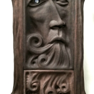 "Sings the Spring Waters - 21""x12.5""x2.5"" - reclaimed mahogany + sodalite - $1800"
