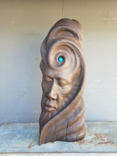 "Not yet titled - 21.5""x8""x4"" - reclaimed African mahogany + lapis lazuli - incense burner, smoke isdues from around stone - $2000"
