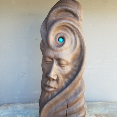 "Not yet titled - 21.5""x8""x4"" - reclaimed African mahogany + lapis lazuli - incense burner, smoke isdues from around stone - $2000"