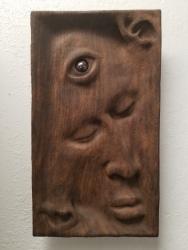"Not yet titled - 13.5""x7.5""x-1.5"" - reclaimed mahogany + jasper - $600"