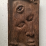 "Not yet titled - 13.5""x7.5""x-1.5"" - reclaimed mahogany + jasper - $600"